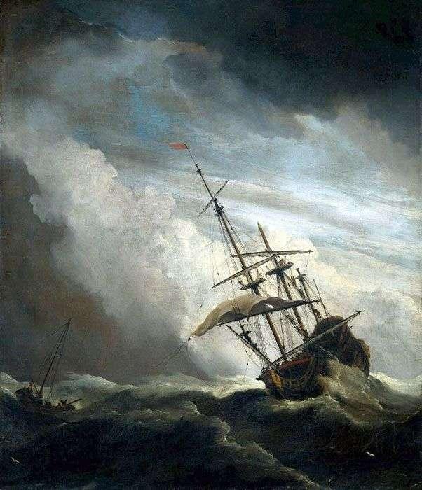 Судно в открытом море   Виллем ван де Велде