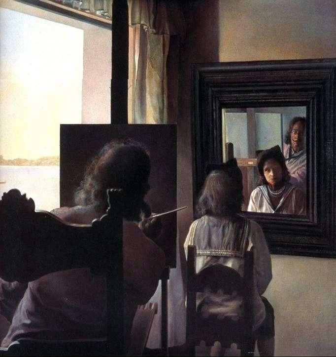 Дали, повернувшись спиною, пишет портрет Галы   Сальвадор Дали