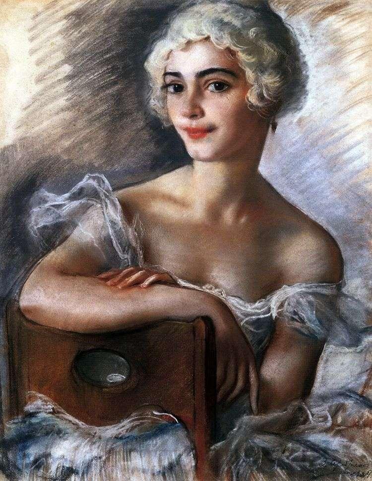 Портрет Е. Н. Гейденрейх в белом парике   Зинаида Серебрякова