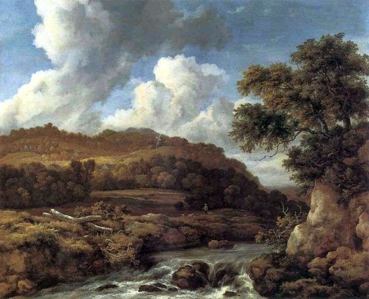 Пейзаж с лесистыми холмами и ручьем   Якоб ван Рейсдал