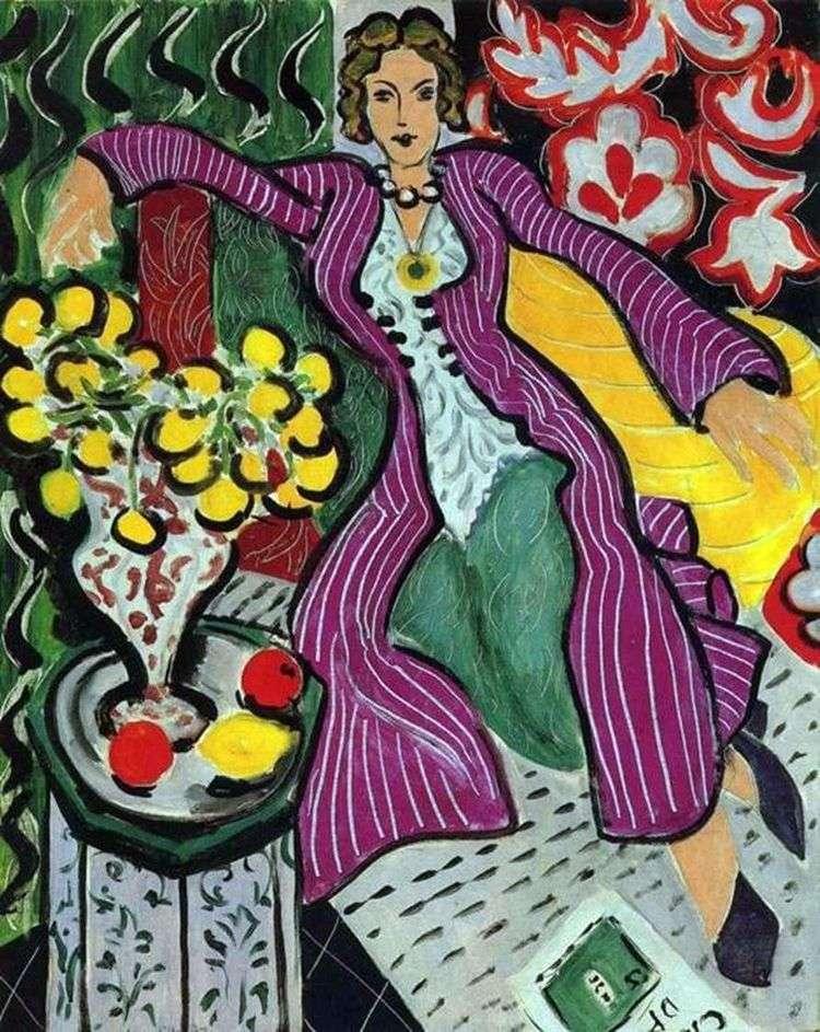 Женщина в фиолетовом пальто   Анри Матисс