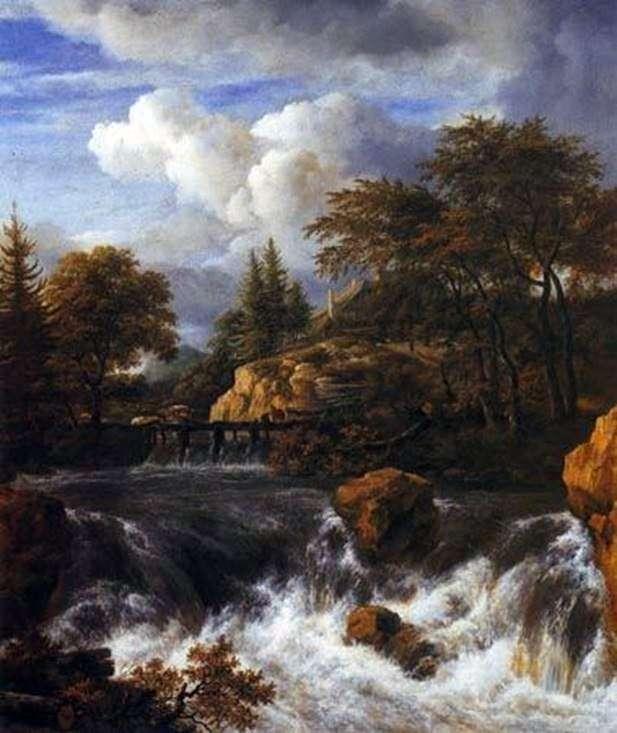 Скалистый пейзаж с водопадом   Якоб ван Рейсдал