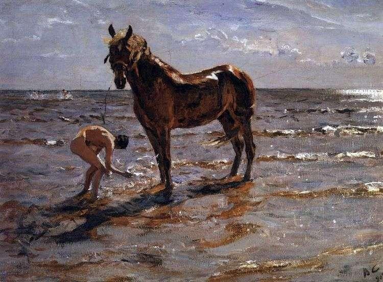 Купание лошади   Валентин Серов