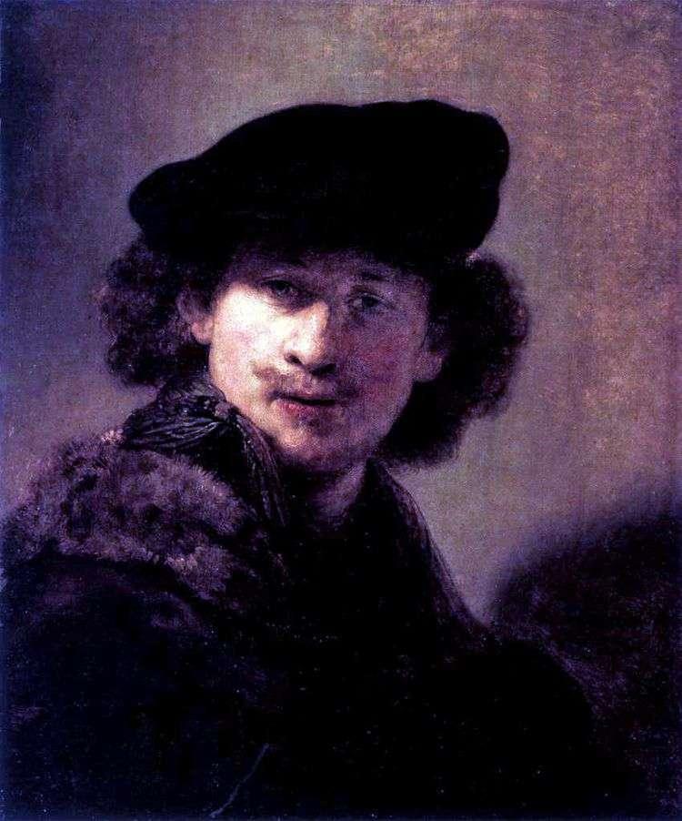 Автопортрет в вельветовом берете   Рембрандт Харменс Ван Рейн