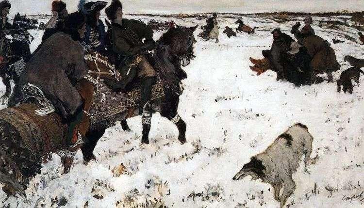 Петр I на псовой охоте   Валентин Серов