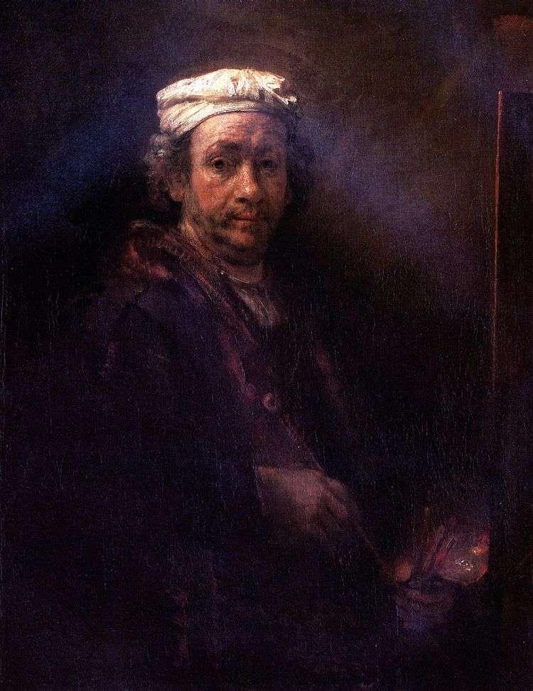Автопортрет за мольбертом   Рембрандт Харменс Ван Рейн