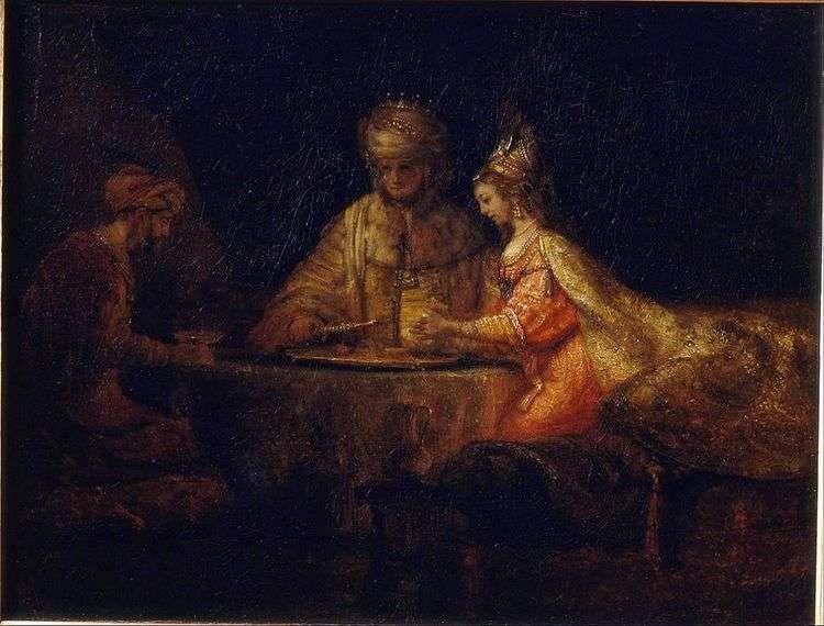 Артаксеркс, Аман и Эсфирь   Рембрандт Харменс Ван Рейн