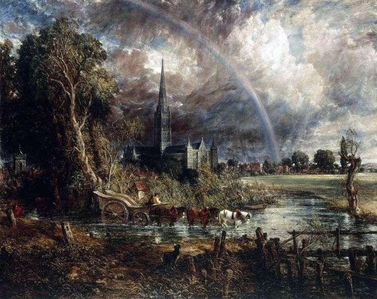 Вид на кафедральный собор Солсбери с луга   Джон Констебл