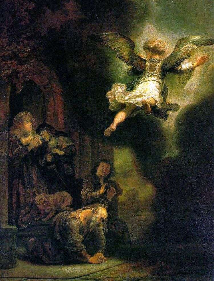 Архангел Рафаил, покидающий семейство Товии   Рембрандт Харменс Ван Рейн