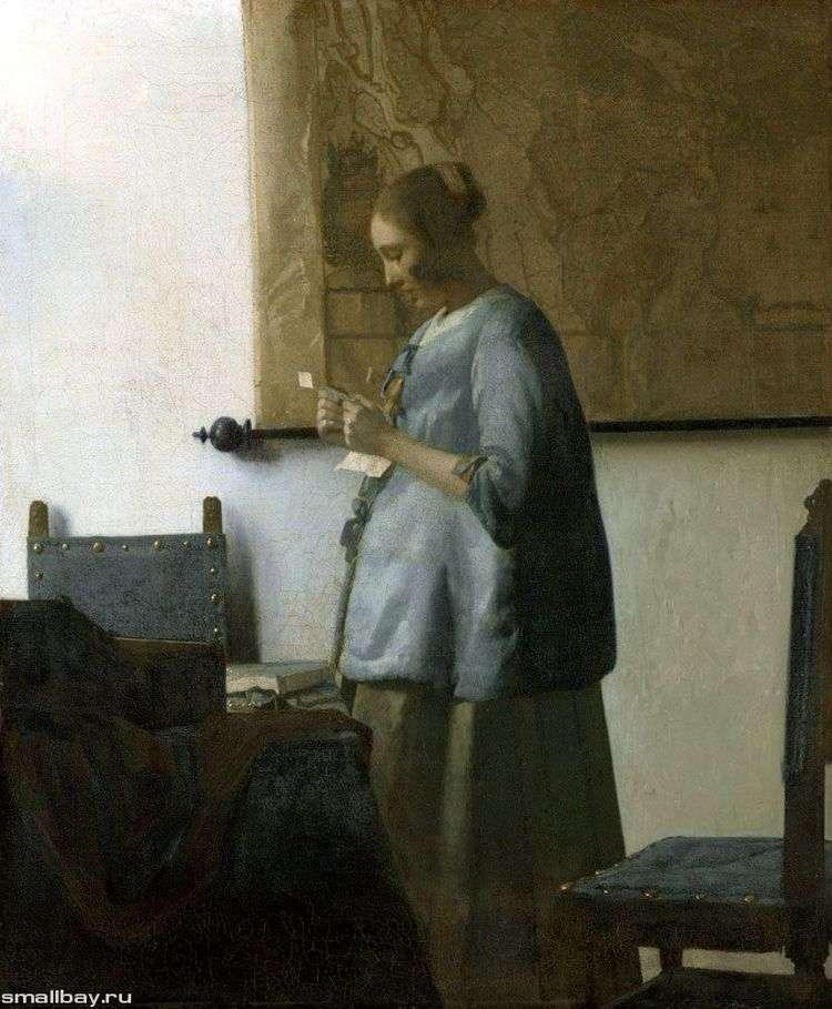 Дама в голубом, читающая письмо   Ян Вермеер