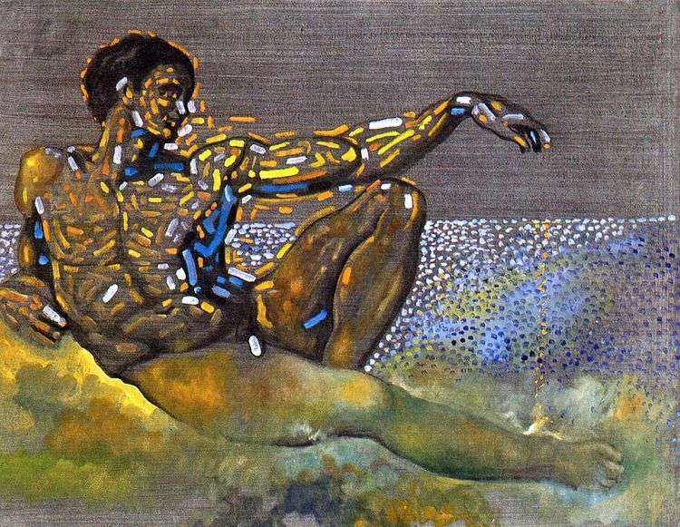 Персонаж, навеянный фигурой Адама с плафона Сикстинской капеллы в Риме   Сальвадор Дали