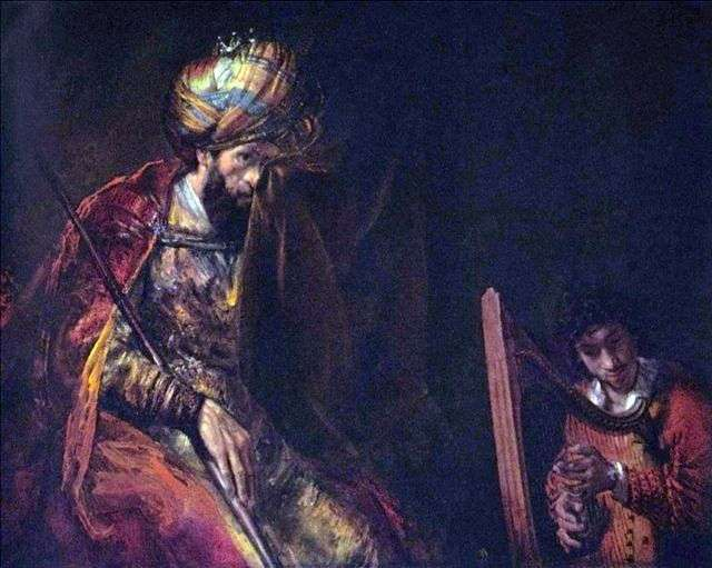 Давид играет царю Саулу   Рембрандт Харменс Ван Рейн