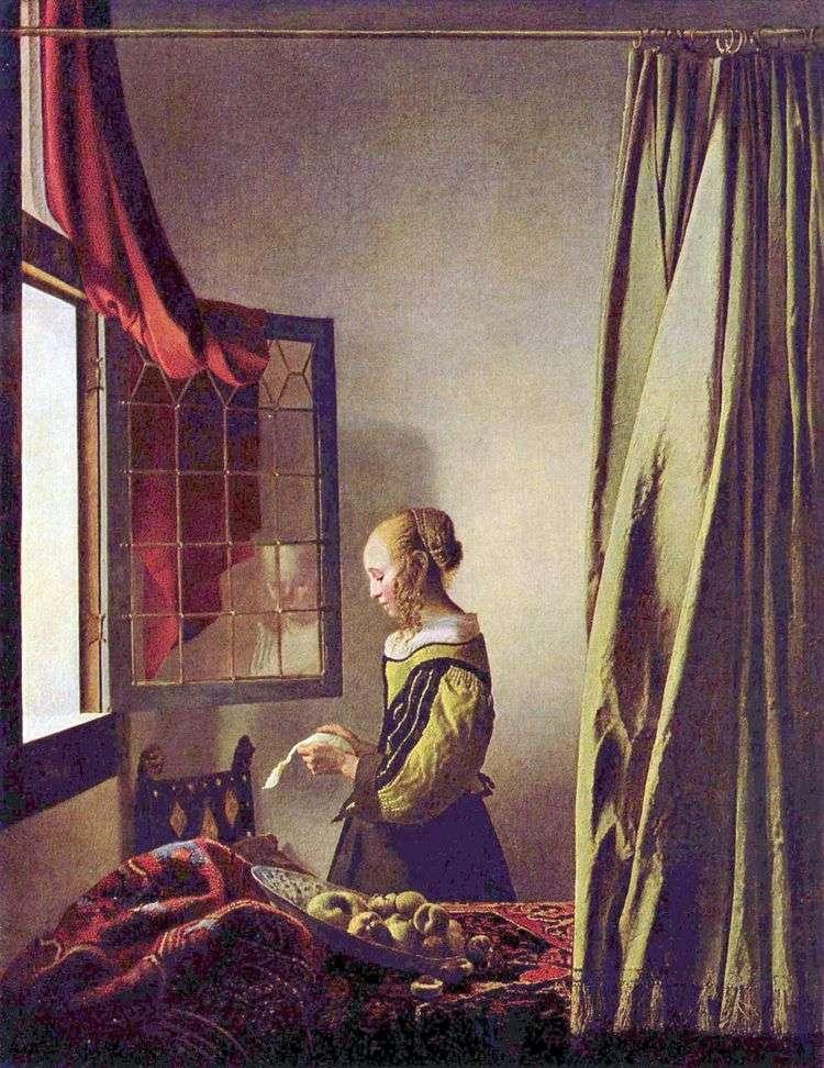 Девушка, читающая письмо у открытого окна   Ян Вермеер