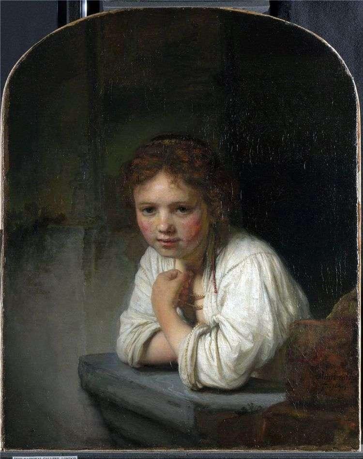 Девочка у окна   Рембрандт Харменс Ван Рейн