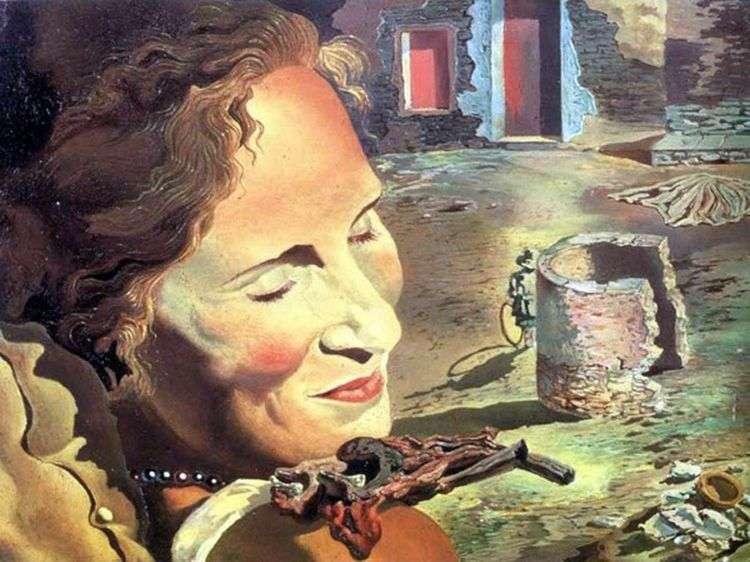 Портрет Галы с двумя ребрышками ягненка, балансирующими на ее плече   Сальвадор Дали