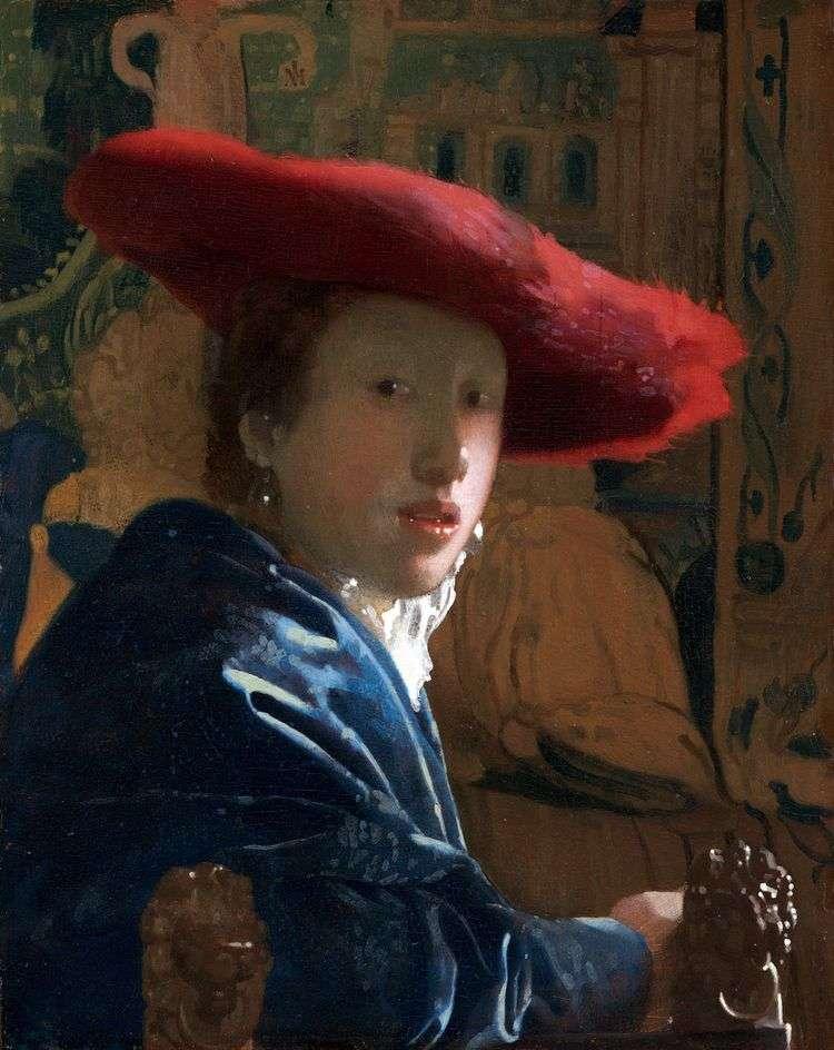 Портрет девушки в красном уборе   Ян Вермеер