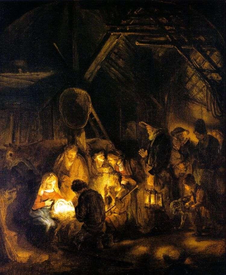 Поклонение пастухов   Рембрандт Харменс Ван Рейн