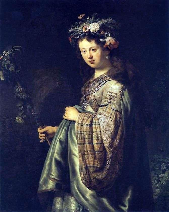 Портрет Саскии в образе Флоры   Рембрандт Харменс Ван Рейн