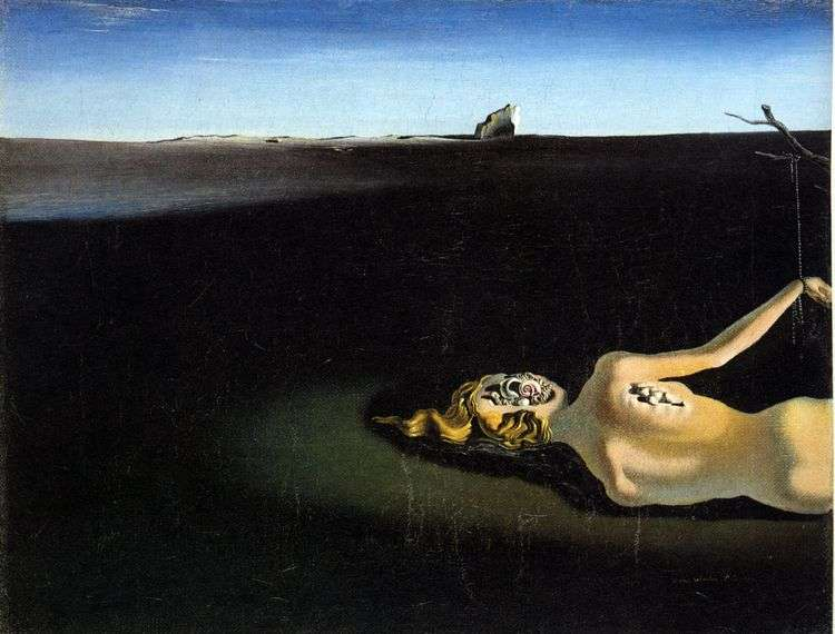 Спящая женщина на фоне пейзажа   Сальвадор Дали