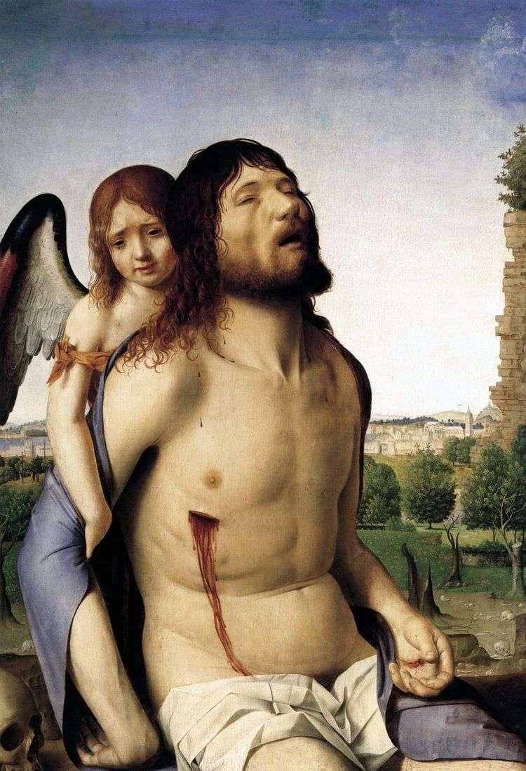 Мертвый Христос, поддерживаемый ангелом   Антонелло да Мессина