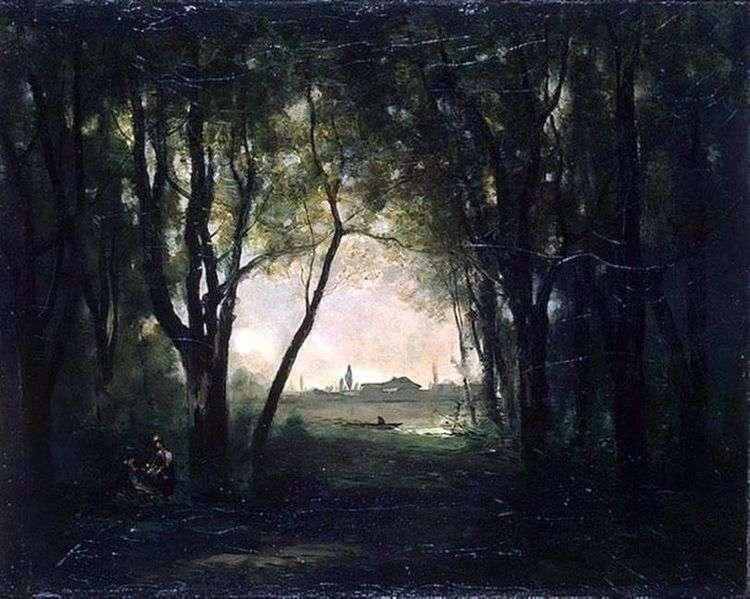 Пейзаж с озером   Камиль Коро