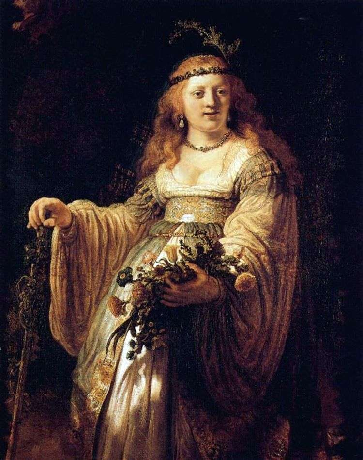 Портрет Саскии в костюме пастушки   Рембрандт Харменс Ван Рейн