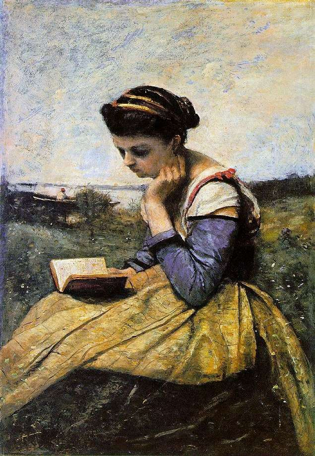 Читающая женщина в пейзаже   Камиль Коро