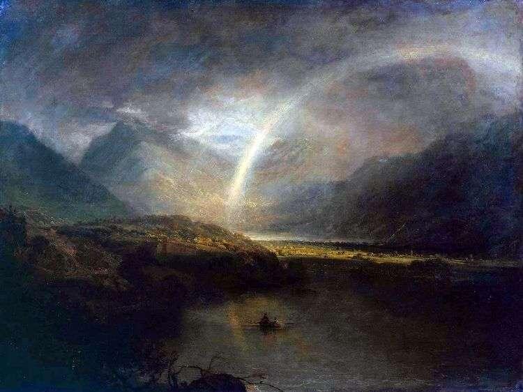 Озеро Баттермир с радугой и ливнем   Уильям Тернер