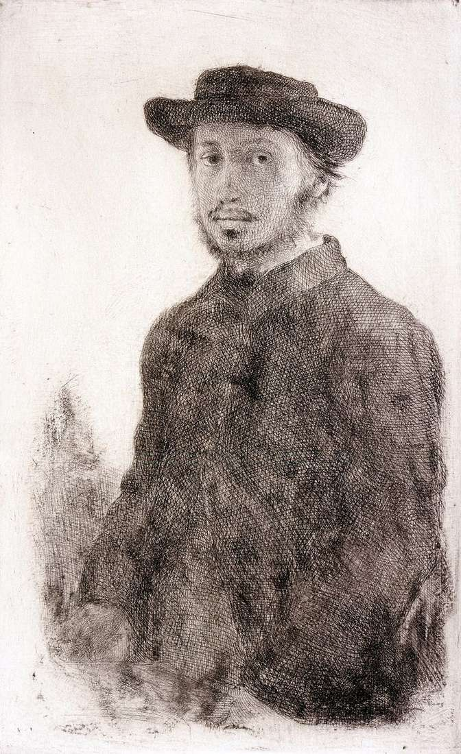 Автопортрет. Гравюра   Эдгар Дега
