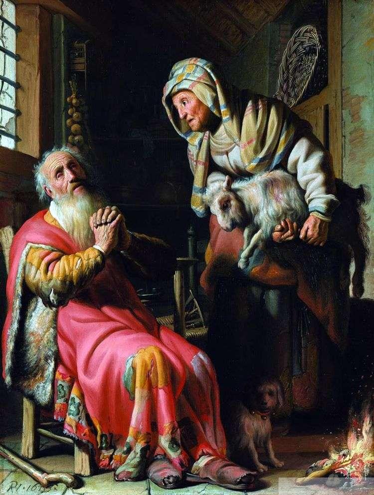 Товит, подозревающий жену в воровстве   Рембрандт Харменс Ван Рейн