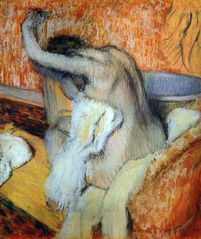 Женщина, вытирающая себя полотенцем   Эдгар Дега