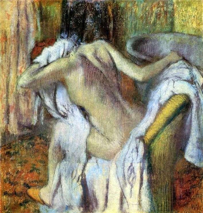 Женщина, вытирающая себя после ванны   Эдгар Дега