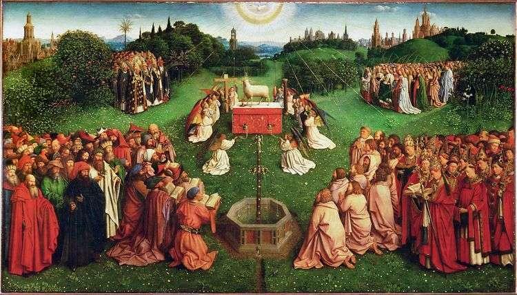 Гентский алтарь Поклонение Агнцу   Ян ван Эйк