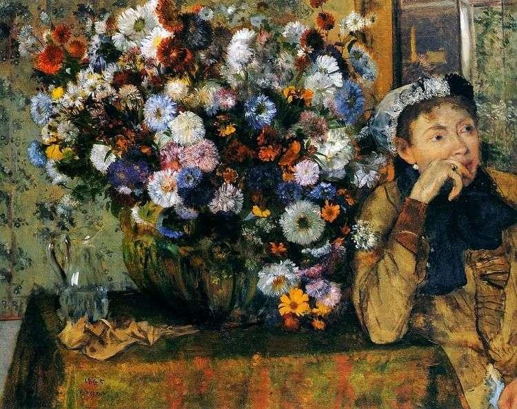 Женщина, сидящая у вазы с цветами   Эдгар Дега