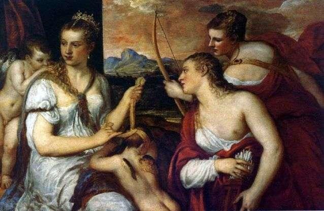 Венера, завязывающая Амуру глаза   Тициан Вечеллио