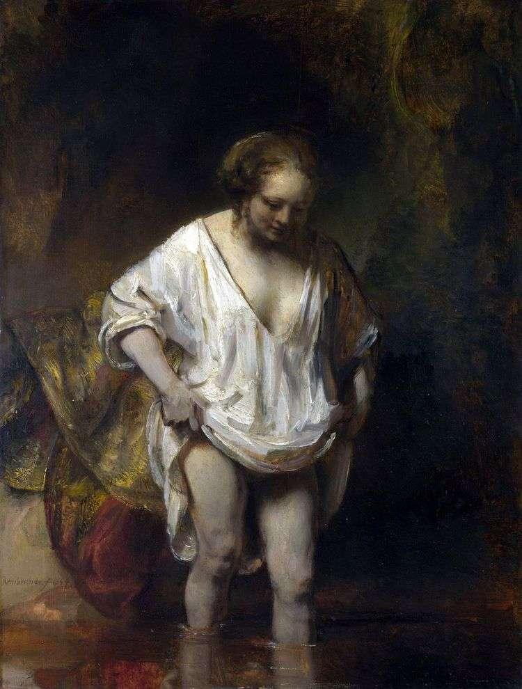 Купающаяся женщина (Хендрикье, входящая в реку)   Рембрандт Харменс Ван Рейн