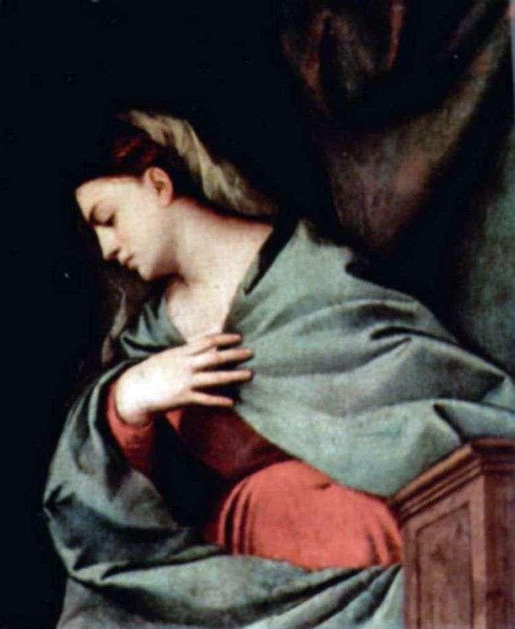 Воскресение Христово (Алтарный полиптих Аверольди), правая створка, сцена вверху. Дева Мария   Тициан Вечеллио