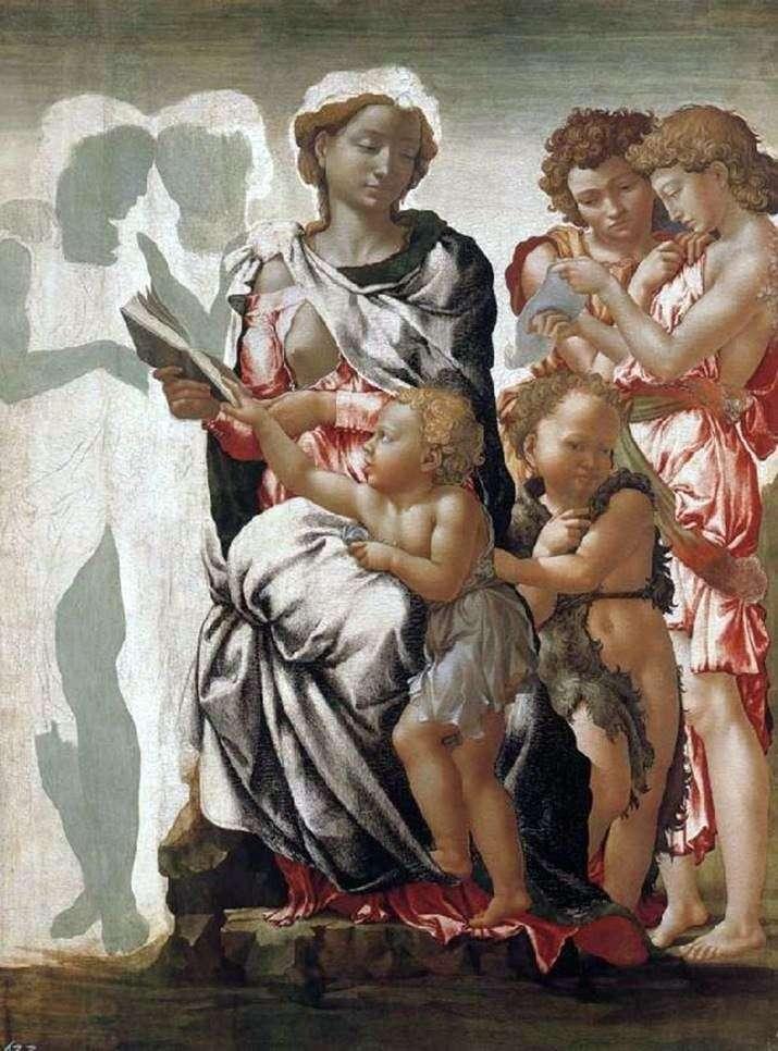 Мадонна с младенцем, Иоанн Креститель и ангелы   Микеланджело Буонарроти