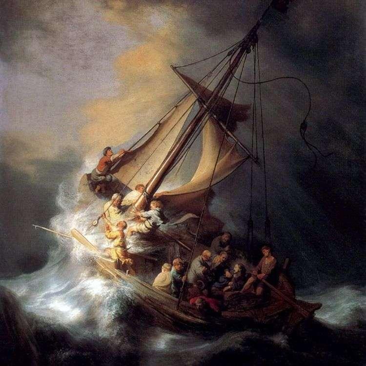 Челнок Христа во время бури   Рембрандт Харменс Ван Рейн