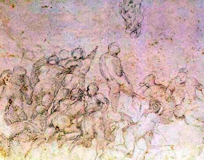 Подготовительный этюд к картине Битва при Кашине   Микеланджело Буонарроти