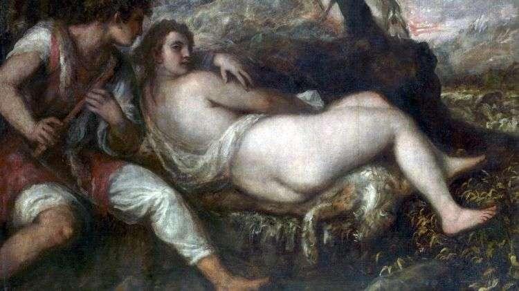 Нимфа и пастух   Тициан Вечеллио
