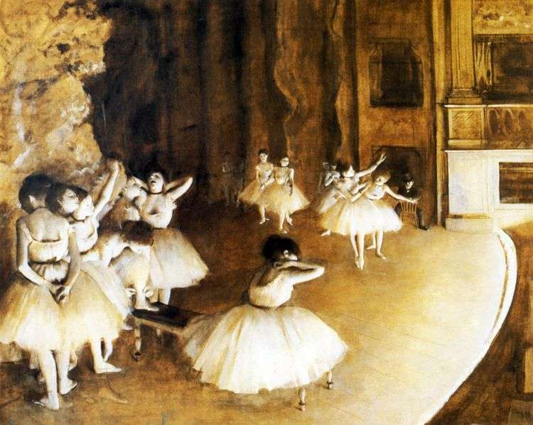 Репетиция балета на сцене   Эдгар Дега