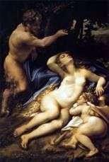 Венера и Амур, за которыми подглядывает сатир   Корреджо (Антонио Аллегри)