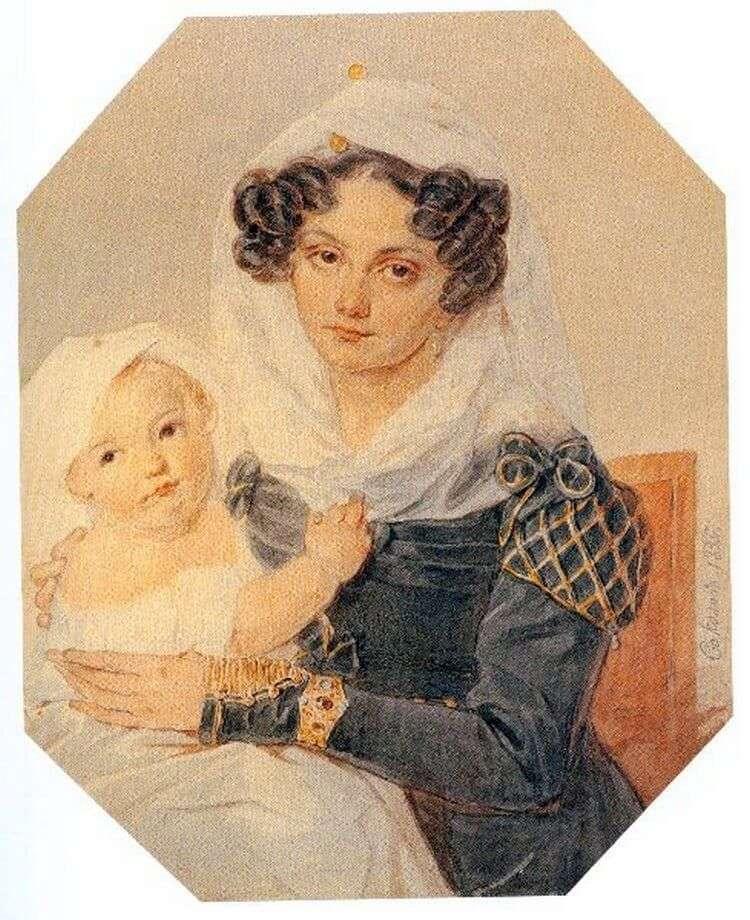 Портрет Волконской Марии Николаевны с сыном Николаем   Петр Соколов
