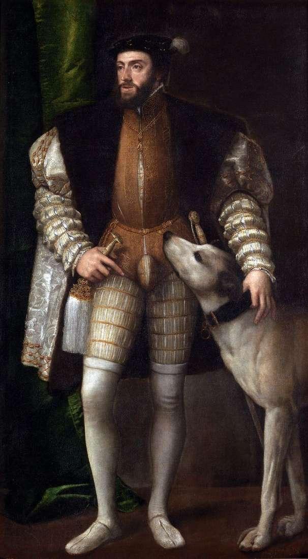 Портрет Карла V с собакой   Тициан Вечеллио