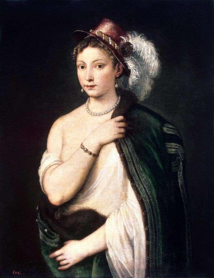 Портрет молодой женщины в шляпе с пером   Тициан Вечеллио