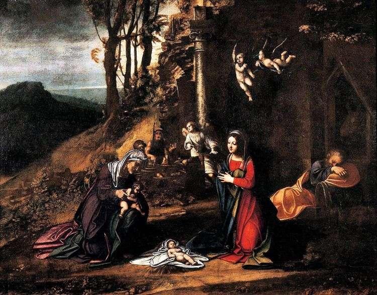 Рождество со св. Елизаветой и маленьким Иоанном Крестителем   Корреджо (Антонио Аллегри)