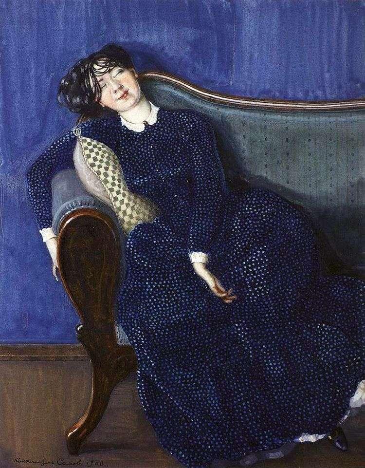 Спящая женщина в синем платье   Константин Сомов