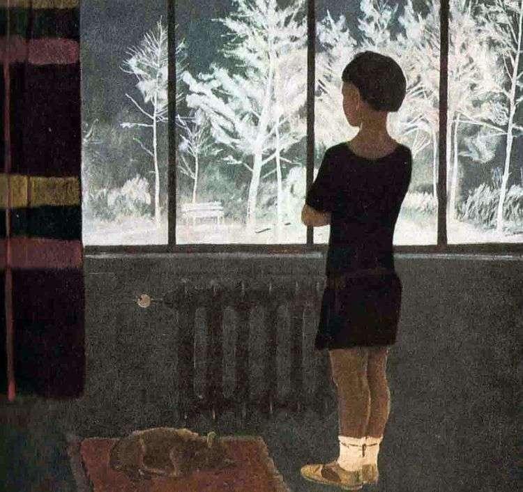 Зима. Девочка у окна   Александр Дейнека