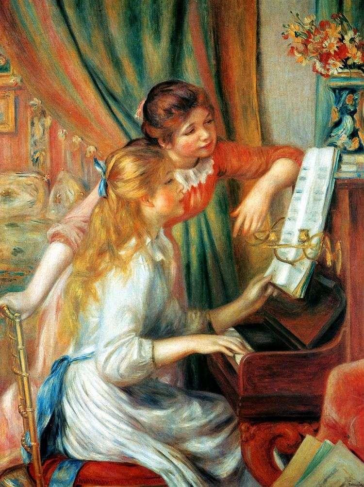 Девушки за фортепьяно (Девушки у пианино)   Пьер Огюст Ренуар